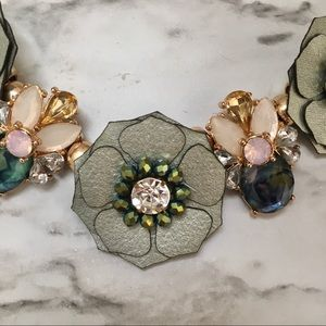Jeweled Green Flower Statement necklace chunky